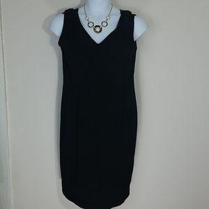 Dress Mini black cocktail shift v neck crepe zip